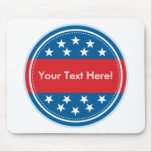 Selo customizável da bandeira dos EUA - azul Mousepad