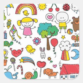 Selo da etiqueta do desenho das crianças Assorted