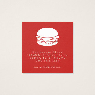 selo da lealdade do Hamburger Cartão De Visitas Quadrado