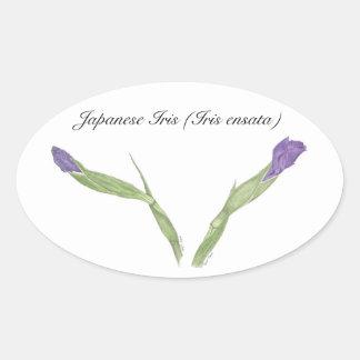 Selo de Botancial da íris japonesa Adesivos Em Formato Oval