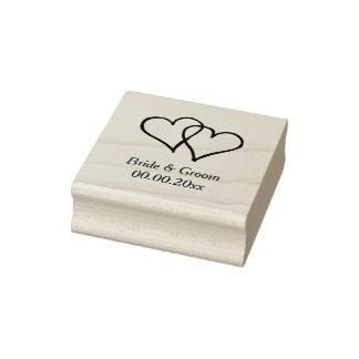 Selo de madeira do casamento da arte com corações carimbo de borracha