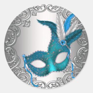 Selo de prata azul Fav do envelope do mascarada da Adesivo Redondo