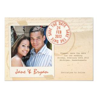 Selo do amor - salvar o cartão de data convite 12.7 x 17.78cm