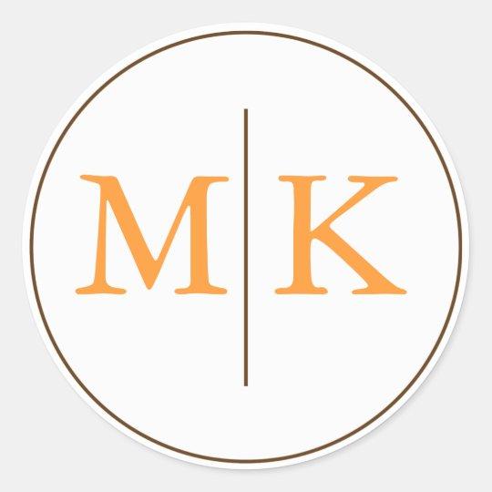 Selo do convite do casamento do monograma adesivo redondo