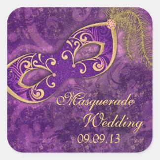 Selo do envelope do casamento do carnaval da bola adesivo quadrado