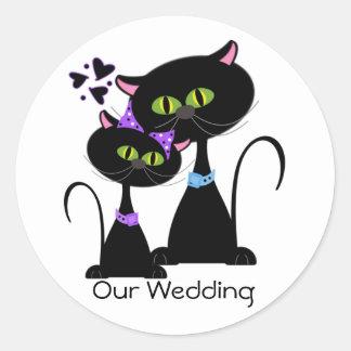 Selo do envelope do casamento do gato preto adesivo