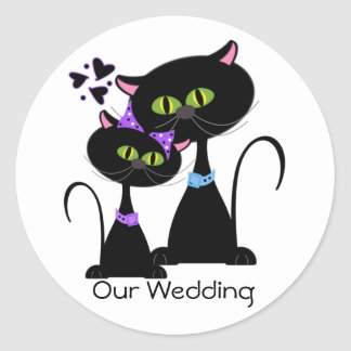 Selo do envelope do casamento do gato preto adesivo em formato redondo