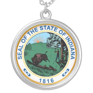 Selo do estado de Indiana Colar Banhado A Prata