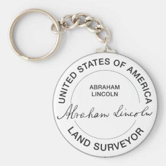 Selo do topógrafo da terra de Abraham Lincoln E.U. Chaveiro