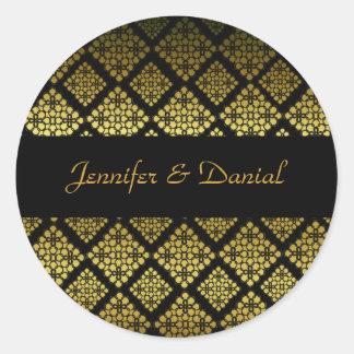 Selo elegante do envelope do casamento do preto & adesivo