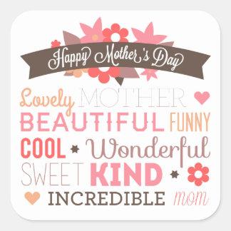 Selo feliz da etiqueta do dia das mães da mamã