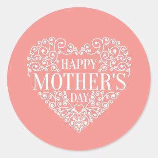 Selo feliz lunático da etiqueta do dia das mães