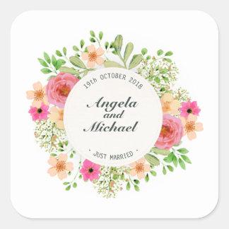 Selo floral da etiqueta do casamento do recem