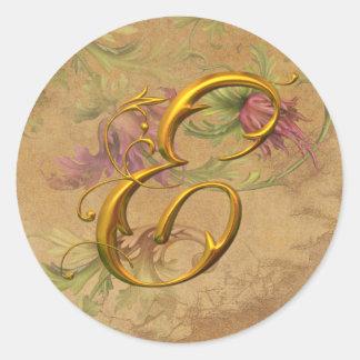 Selo floral do casamento do monograma do ouro E do Adesivo