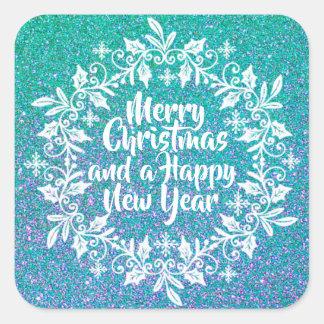 Selo Glittery da etiqueta do Feliz Natal |