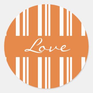 Selo listrado da etiqueta do envelope do amor adesivo