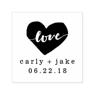 Selo personalizado coração do casamento do amor carimbo auto entintado