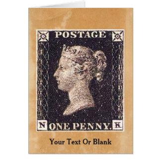 Selo postal preto da moeda de um centavo cartão comemorativo