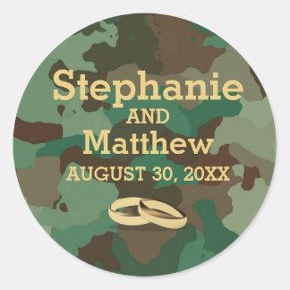 Selo verde personalizado da etiqueta do casamento