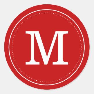 Selo vermelho clássico do envelope do monograma adesivo