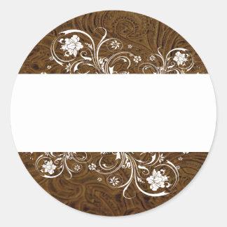 Selos brancos do laço do olhar do couro de Brown Adesivo
