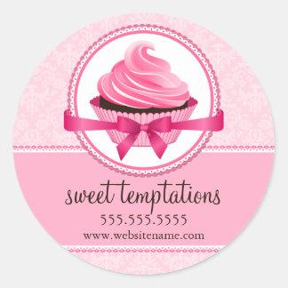 Selos da caixa da padaria do cupcake do Couture Adesivos Redondos