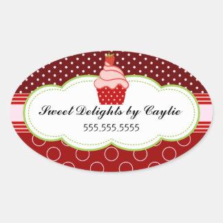 Selos da caixa de bolo da padaria do cupcake da adesivo oval