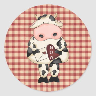 Selos das etiquetas dos namorados da vaca do adesivo