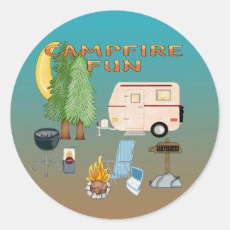Selos de acampamento do envelope do divertimento adesivo redondo
