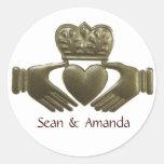 Selos do casamento do ouro de Claddagh do irlandês Adesivos