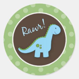 Selos do envelope do dinossauro, favores do chá de adesivo em formato redondo