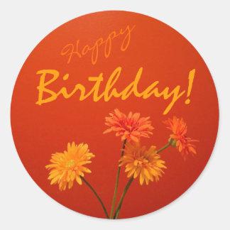 Selos do envelope do feliz aniversario adesivo redondo