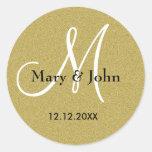 Selos do monograma do casamento do ouro do brilho adesivos em formato redondos