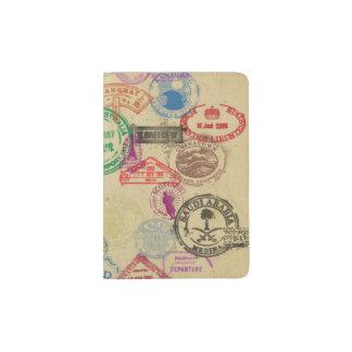 Selos do passaporte do vintage capa para passaporte