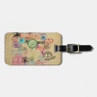 Selos do passaporte do vintage etiqueta de bagagem