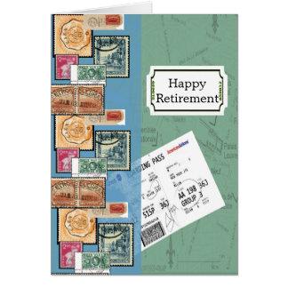Selos felizes da aposentadoria do mundo cartão de nota