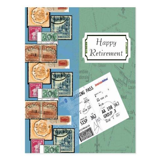 Selos felizes da aposentadoria do mundo cartões postais