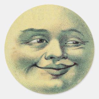 Selos felizes do envelope da lua do vintage adesivo redondo