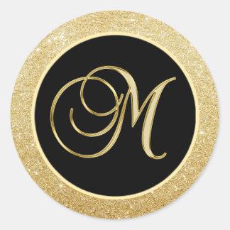 Selos pretos elegantes do brilho do ouro da letra adesivo redondo