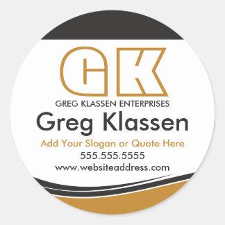 Selos profissionais do negócio no ouro e no Brown Adesivo