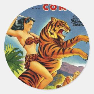 Selva da época dourada cómica adesivo redondo