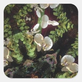 Selva da orquídea adesivo quadrado