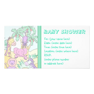 Selva do bebê 13 chás de fraldas cartões com fotos