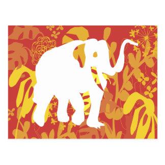 Selva floral do safari do elefante cartão postal