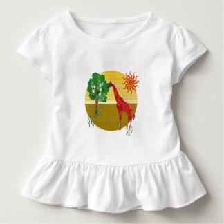 Selvagem africano do girafa alto colorido bonito camiseta infantil