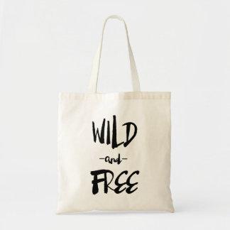 Selvagem e livre a sacola moderna da caligrafia da sacola tote budget