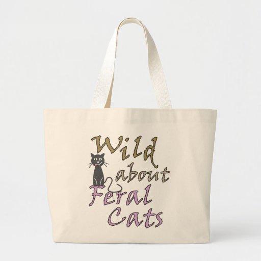 Selvagem sobre gatos ferozes - gato feroz engraçad bolsa de lona