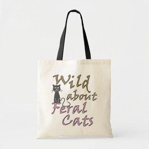 Selvagem sobre gatos ferozes - gato feroz engraçad bolsas de lona