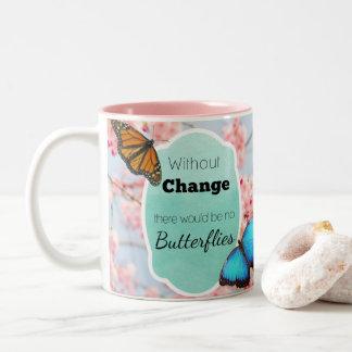 Sem mudança nenhuma borboleta cita a caneca