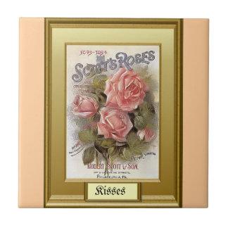 Sementes do passado; Rosas alaranjados Azulejo De Cerâmica
